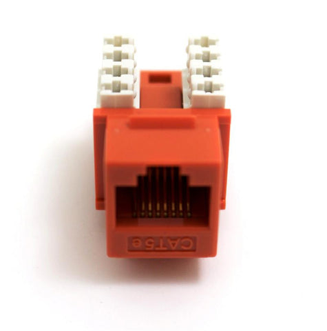 CAT5E Keystone Jack RJ45, 110 Punch Down - Orange