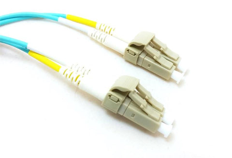 15 Meter, 10 GB Aqua OM3 Fiber Optic Cable, 50/125 LC / LC, Multimode