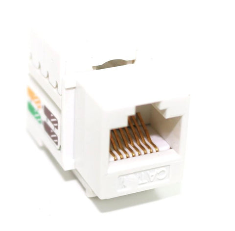CAT6 Keystone Jack RJ45,110 Punch Down - White