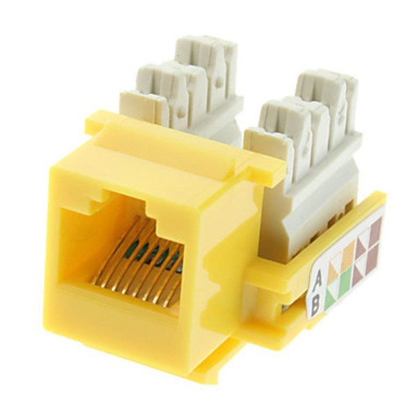 CAT6 Keystone Jack RJ45, 110 Punch Down - Yellow