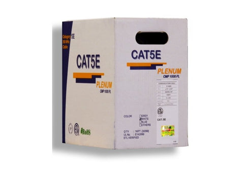 Plenum White Bulk Wire 1,000 Feet UTP CAT5E