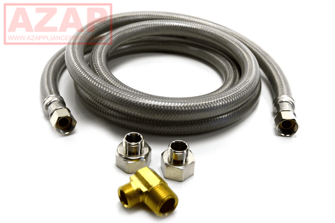 "Dishwasher Connector Water Line 6 Foot Long 3/8"" Stainless Steel Braided Hose - AZ Appliance Parts"