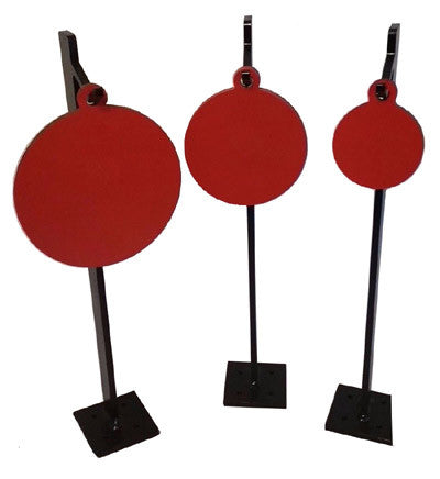"Steel Target Fence Post Hook Combo - AR500 3/8"" Thick 4"",6"",8""  One Hole Round w/ 3 Fence Post Hooks"