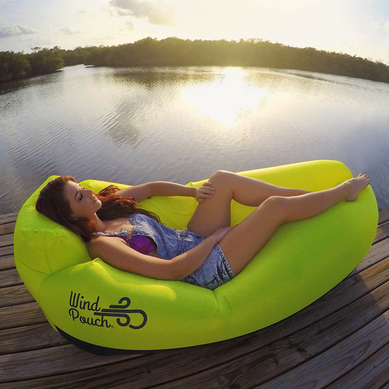 Charming WindPouch Lite Chartreuse Green Inflatable Ground Hammock Blow Up Seat Air  Lounger Inflatable Couch