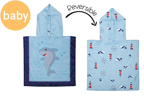 Reversible Baby Cover Up - Shark | Nautical (one size only)