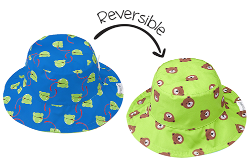 Reversible Baby Patterned Sun Hat - Frog & Bear