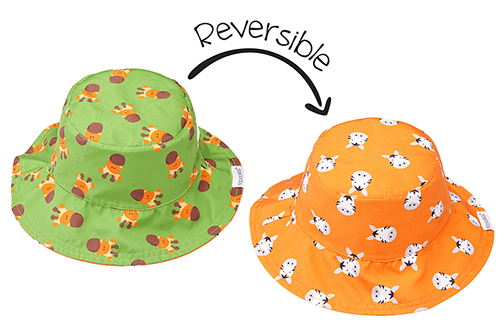 Reversible Baby Patterned Sun Hat - Giraffe & Zebra