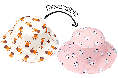 Reversible Baby & Toddler Patterned Sun Hat - Girl Giraffe & Zebra