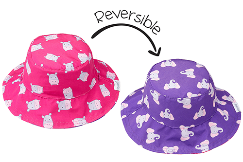 Reversible Baby & Toddler Patterned Sun Hat - Hippo & Elephant