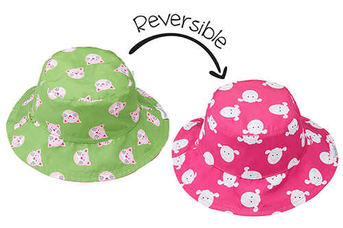 Reversible Baby & Toddler Patterned Sun Hat - Kitten & Lamb