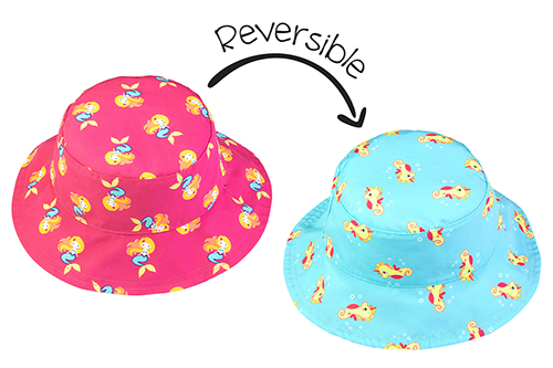 Reversible Baby & Toddler Patterned Sun Hat - Mermaid & Seahorse