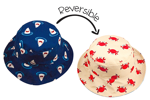 Reversible Baby & Toddler Patterned Sun Hat - Shark & Crab