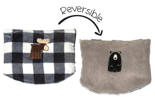 Kids Reversible Neck Warmer - Moose & Black Bear