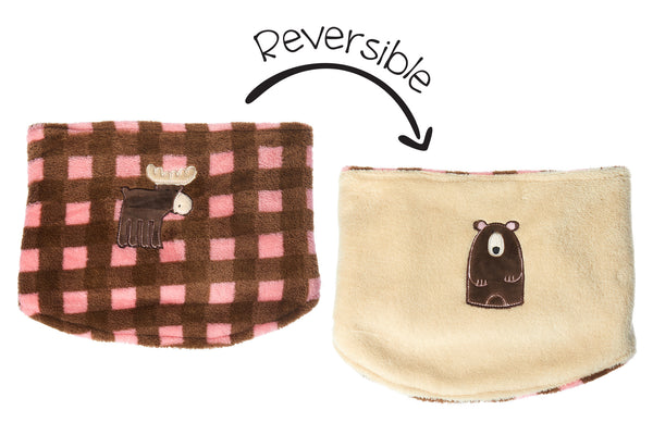 Kids Reversible Neck Warmer - Moose & Brown Bear