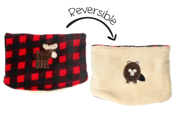 Kids Reversible Neck Warmer - Moose & Beaver
