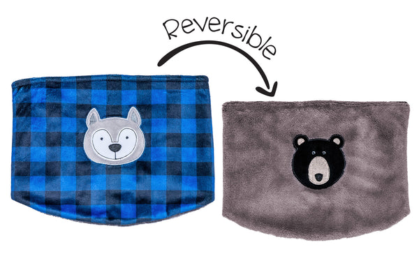 Kids Reversible Neck Warmers - Wolf & Black Bear