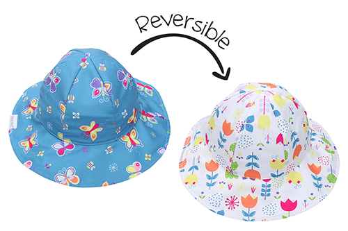 Reversible Kids Patterned Sun Hat - Butterfly | Floral