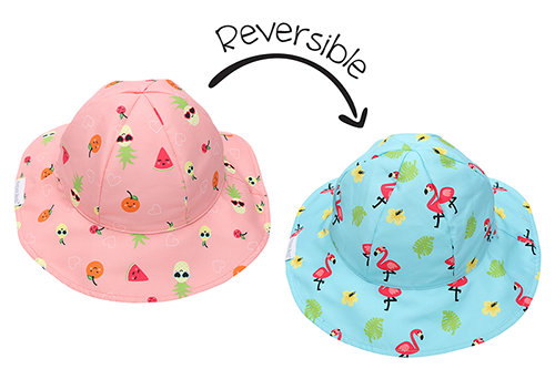 Reversible Kids Patterned Sun Hat - Flamingo | Fruit