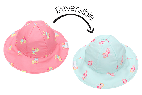 Reversible Kids Patterned Sun Hat - Mermaid | Seahorse