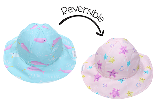 Reversible Kids Patterned Sun Hat - Narwhal | Starfish