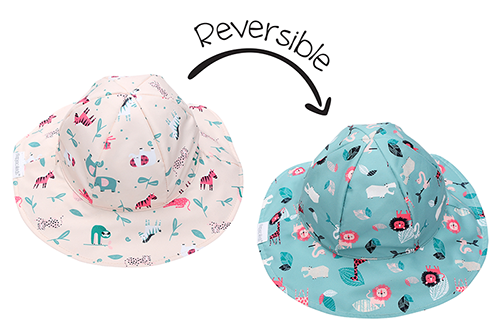 Reversible Kids Patterned Sun Hat - Pink Zoo