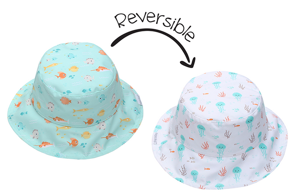 Reversible Kids Patterned Sun Hat - Fish | Jellyfish