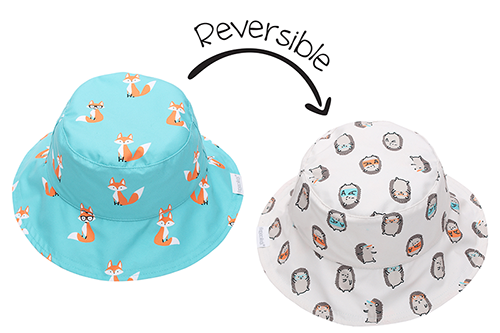 Reversible Kids Patterned Sun Hat - Fox | Hedgehog