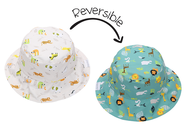 Reversible Kids Patterned Sun Hat - Grey Zoo