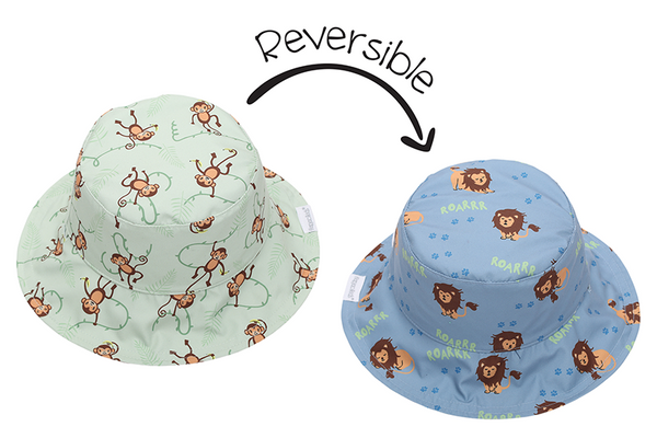 Reversible Kids Patterned Sun Hat - Lion | Monkey