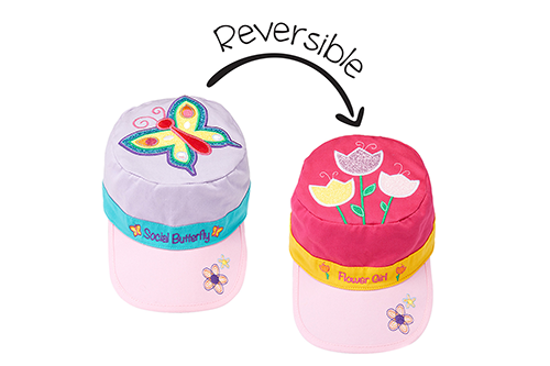 Reversible Kids Cap - Butterfly / Tulips