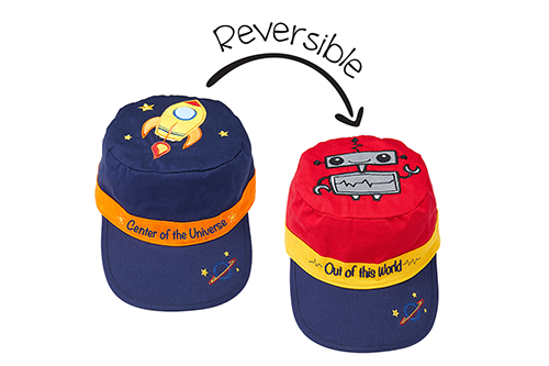 Reversible Kids Cap - Spaceship / Robot