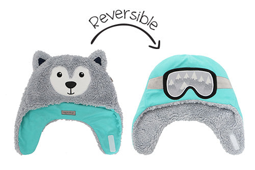 Kids & Baby Reversible Sherpa Hat - Wolf & Ski Goggles