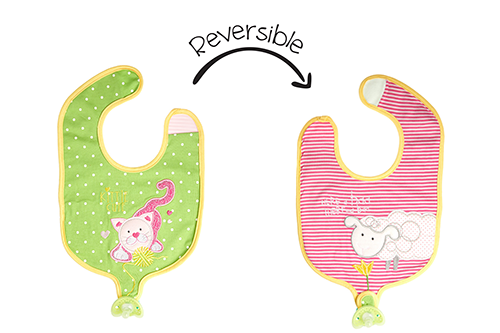 Reversible Soother Bib – Kitten | Lamb