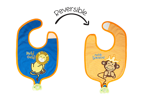 Reversible Soother Bib – Lion | Monkey