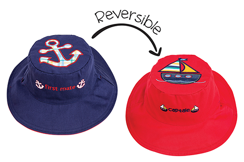 Reversible Kids & Toddler Sun Hat - Anchor & Sailboat