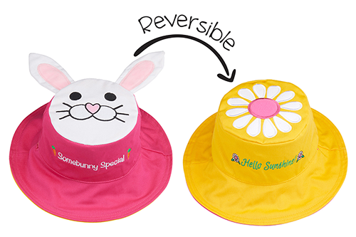 Reversible Kids & Toddler Sun Hat - Bunny & Daisy