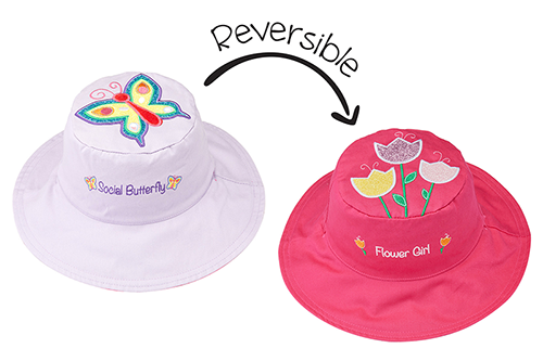 Reversible Kids & Toddler Sun Hat - Butterfly & Tulips
