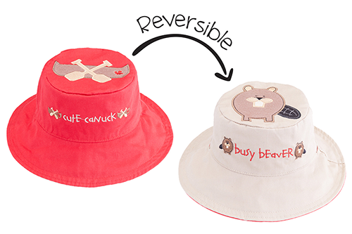 Reversible Kids & Toddler Sun Hat - Canoe & Beaver