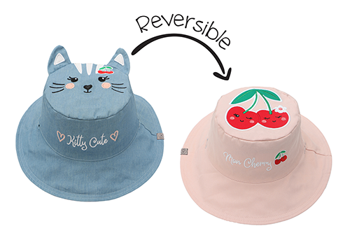 Reversible Kids & Toddler Sun Hat - Cat & Cherry