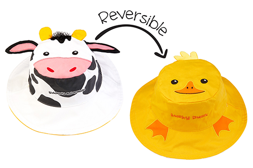 Reversible Kids & Toddler Sun Hat - Cow & Yellow Duck