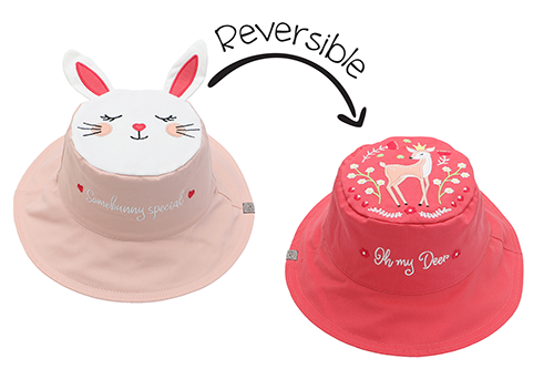 Reversible Kids & Toddler Sun Hat - Bunny & Deer