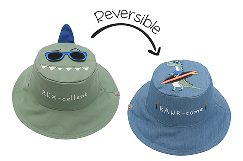 Reversible Kids & Toddler Sun Hat - Dinosaur & Surfer Dino