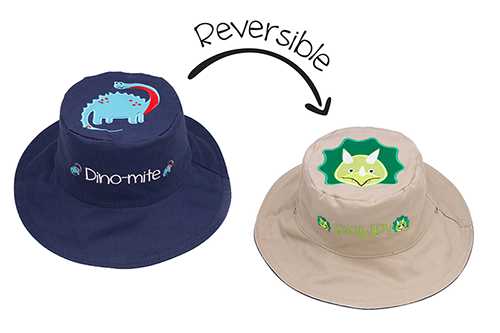 Reversible Kids & Toddler Sun Hat - Dinosaurs