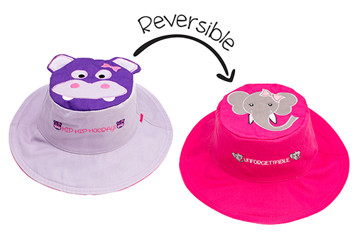 Reversible Kids & Toddler Sun Hat - Hippo & Elephant