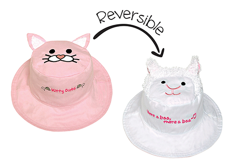 Reversible Kids & Toddler Sun Hat - Kitten & Lamb