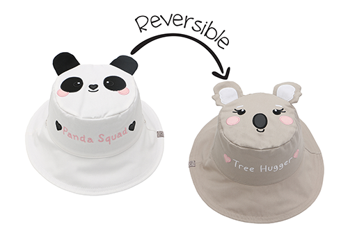 Reversible Kids & Toddler Sun Hat - Panda & Koala