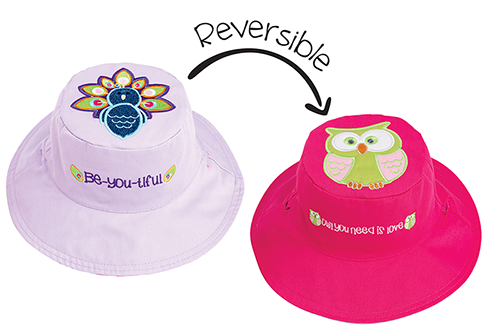 Reversible Kids & Toddler Sun Hat - Peacock & Owl