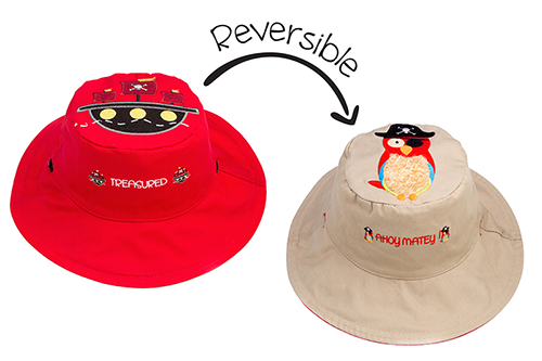 Reversible Kids & Toddler Sun Hat - Pirate Ship & Parrot