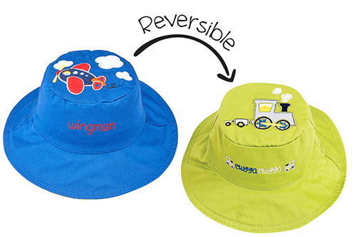 Reversible Kids & Toddler Sun Hat - Plane & Train