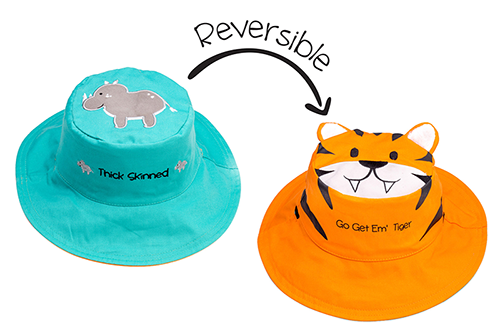 Reversible Kids & Toddler Sun Hat - Rhino & Tiger